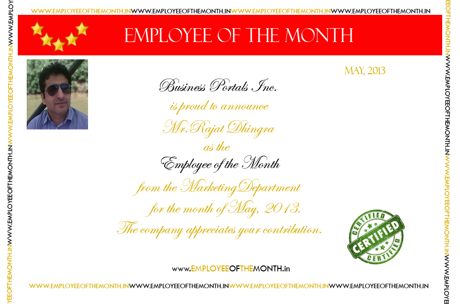 sample employee of the month certificate