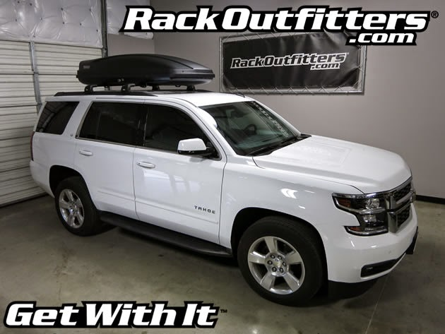 2015 Chevrolet Tahoe Thule Black AeroBlade Base Roof Rack With Thule Force  XL Cargo Box