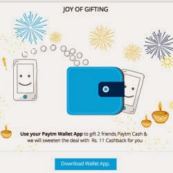 Paytm Wallet App Send Rs. 10 to 2 Friends & Get Rs. 11 Paytm Cash