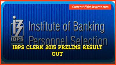 IBPS Clerk Prelims Result 2015