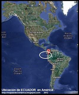 Ubicación de ECUADOR en América, Vista Satelital