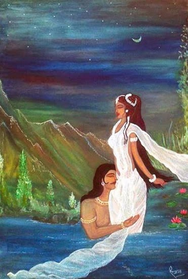 Gandharva Vivah (Shakuntalam), painting by Ranjana Kashyap (part of her portfolio on Indiaart.com)