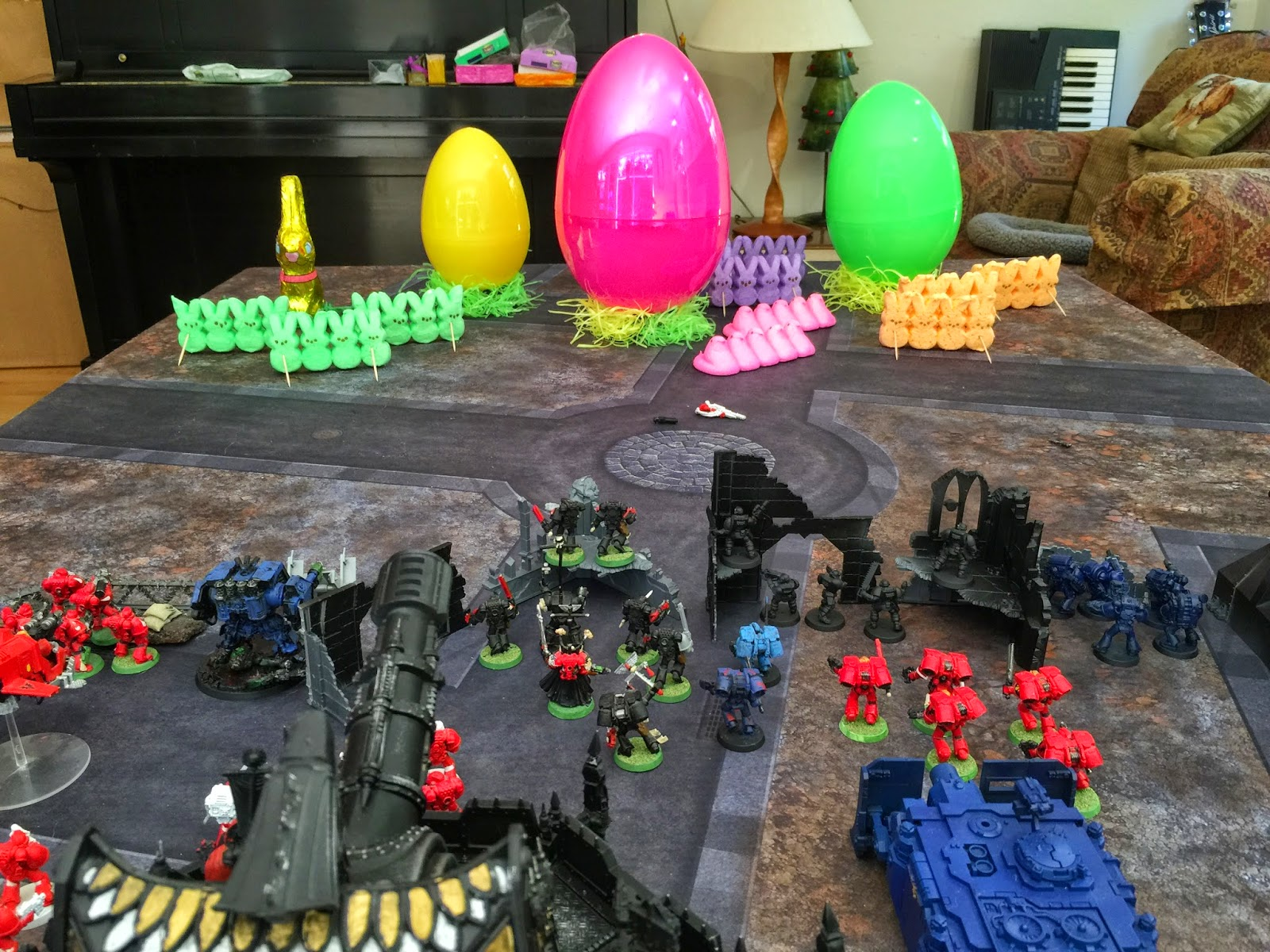 peeps vs space marines; peep landing; peep deployment; peep 40k; peep battle