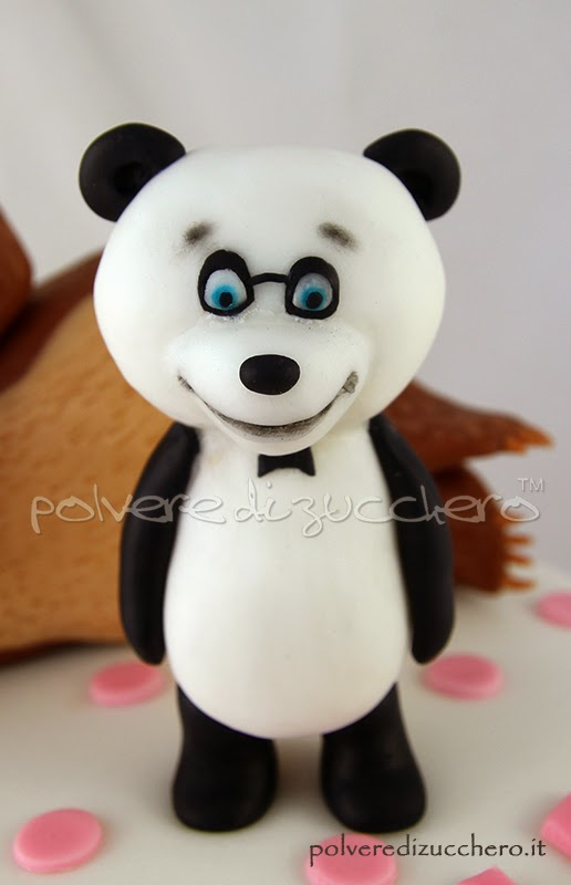 masha e orso panda pasta di zucchero polvere di zucchero cake design torte decorate