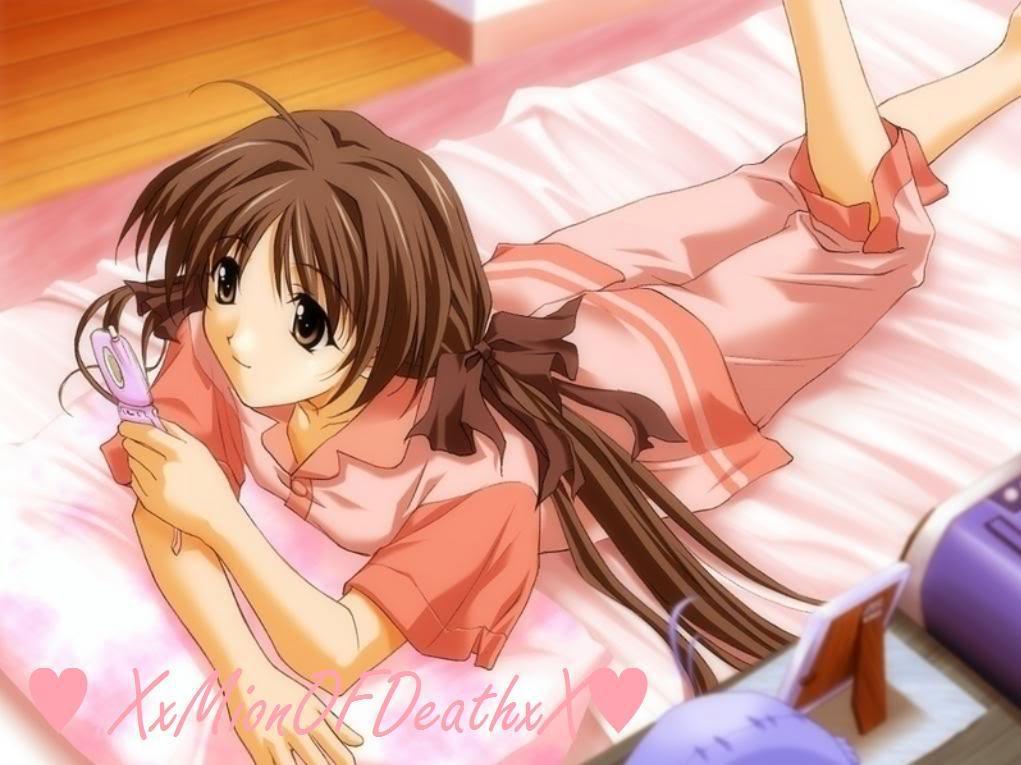 gambar kartun jepang diatas tempat tidur