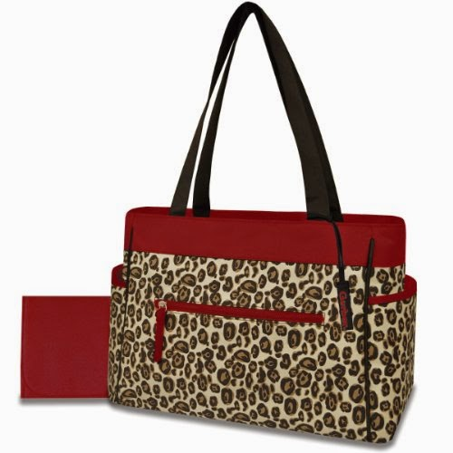 Gerber Diaper Tote Bag, Red Trim Cheetah