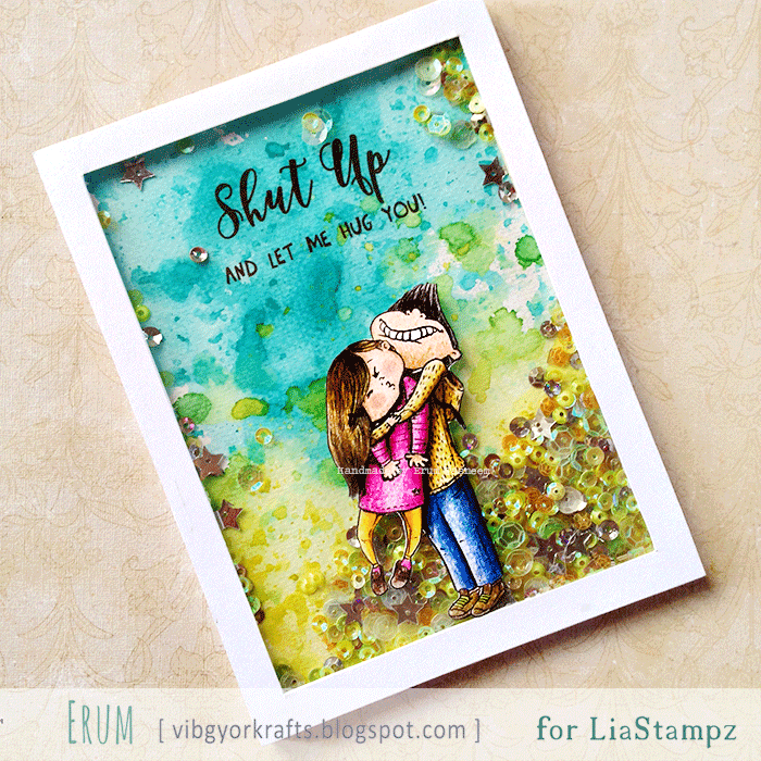 Lia Stampz boy hug shaker card, distress ink watercolor background