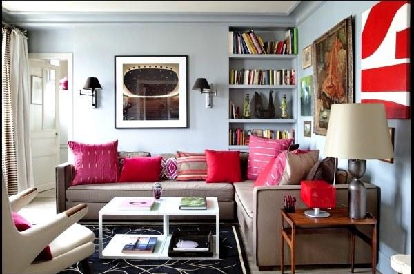 Decoração de sala pink e vermelho