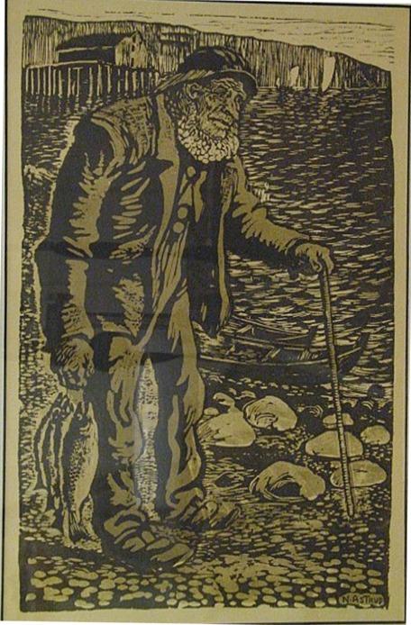 'Gammel Fisker' or 'Old Fisherman' woodcut print. Image: WikiMedia.org.