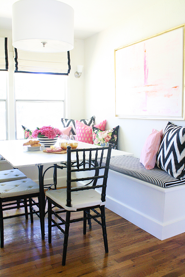 Almost Everything In The Space Was Reinvented Or DIY Ed Some How From Our Faux Marble Glass Table To Banquette Tutorial