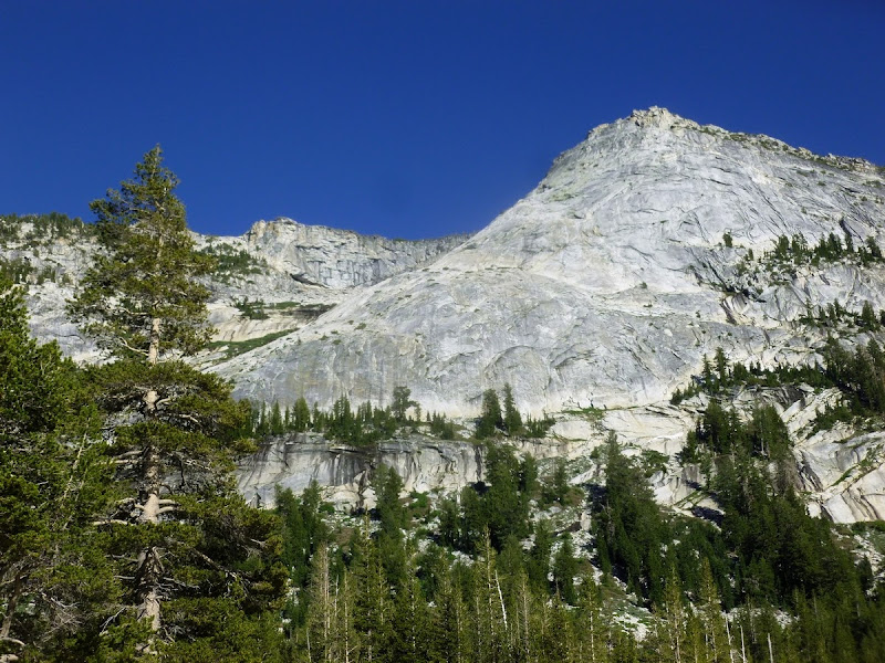 Looking up at the northwest buttress of Tenaya Peak, from Tenaya Lake, Yosemite National Park