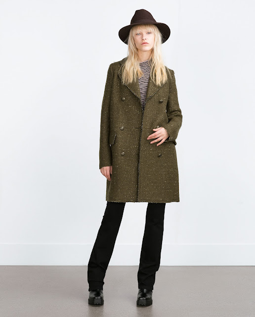 zara khaki wool coat,