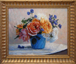 AVAILABLE - by Robin Lucile Anderson - Blue Pot with Orange White and Blue Flowers