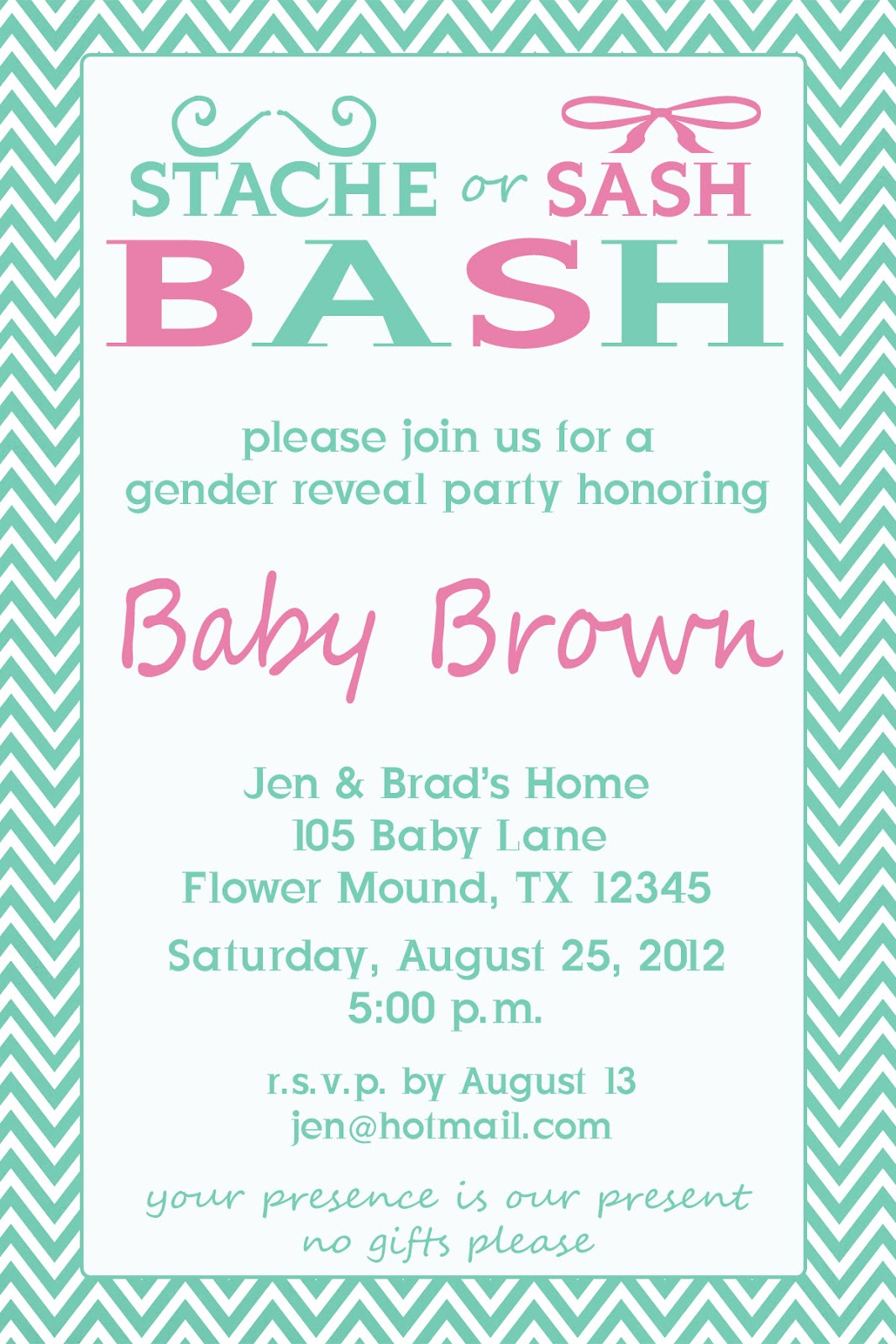lil Mop Top: Stache or Sash Gender Reveal Party