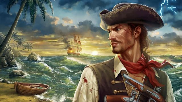 Pintura de un Barco y un Pirata
