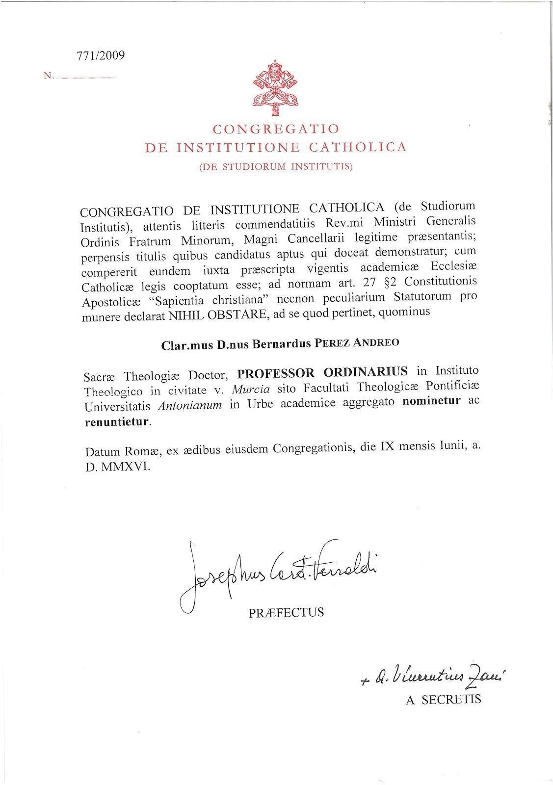 Nombramiento de Profesor Ordinario de Teología