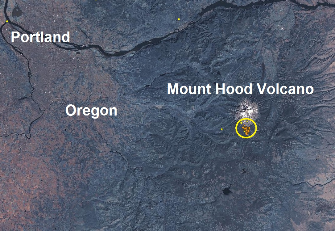 Mt Hood Volcano Oregon joins Mt St Helens Washington and releases a 'swarm' of more than a hundred