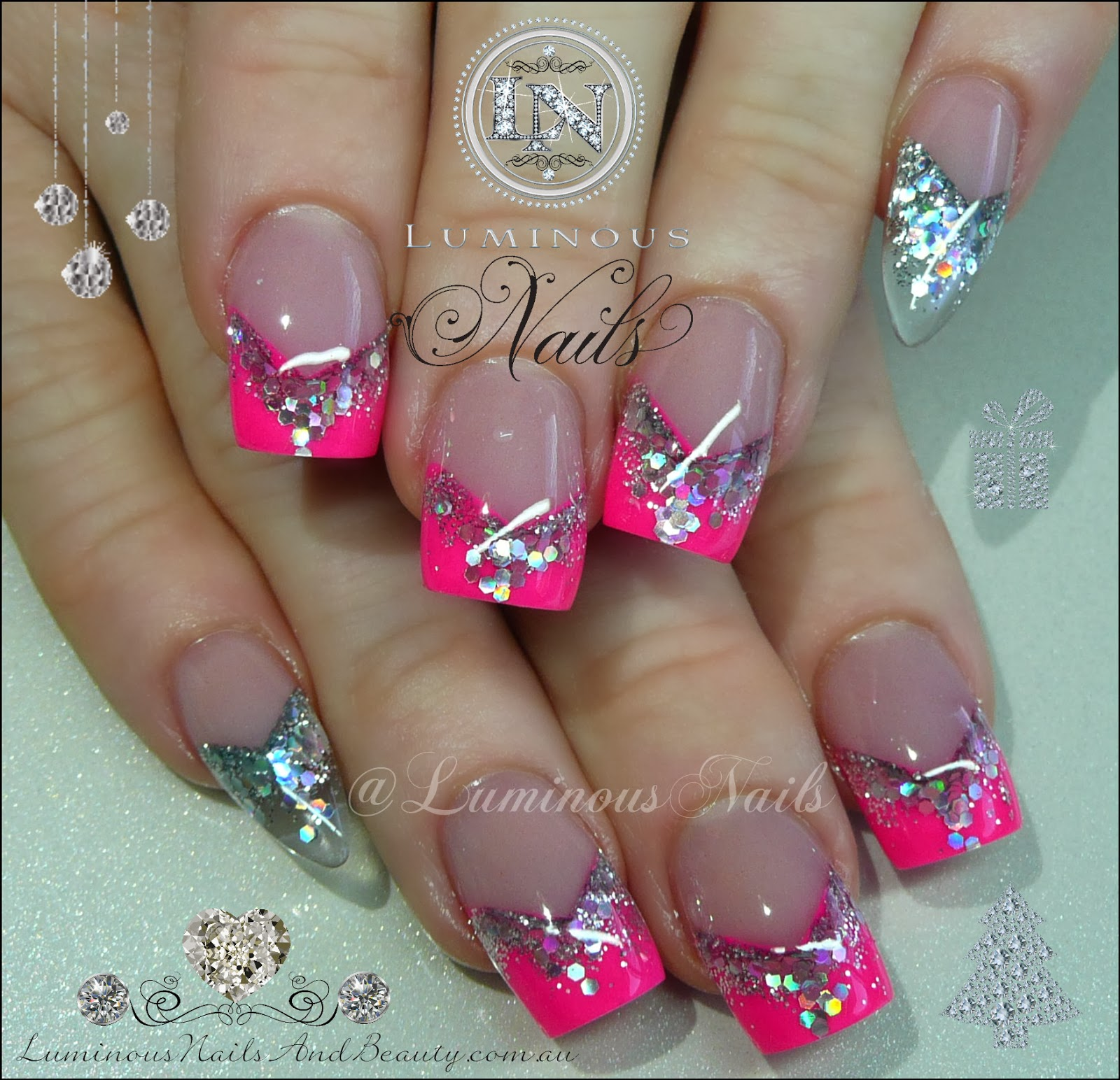 Hot Pink Silver Nails With