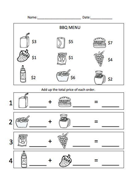 Printables Menu Math Worksheets menu math worksheet printable worksheets educational bbq unit in action autism parents blog partner worksheet