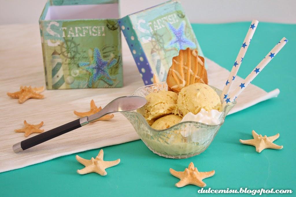 helado de natillas, nueces, pajitas de papel, verano, refrescante, estrellas de mar, dulcemisu