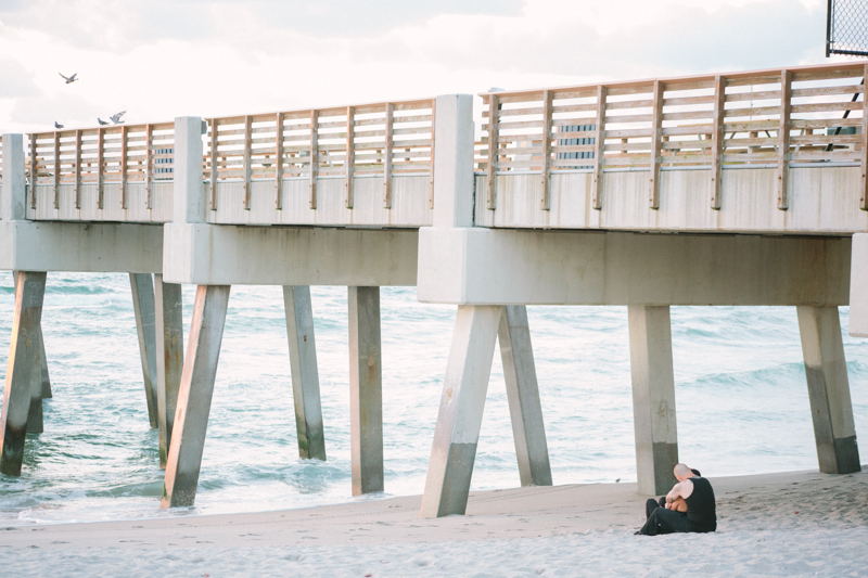 juno beach sunrise pier proposal engagement photography