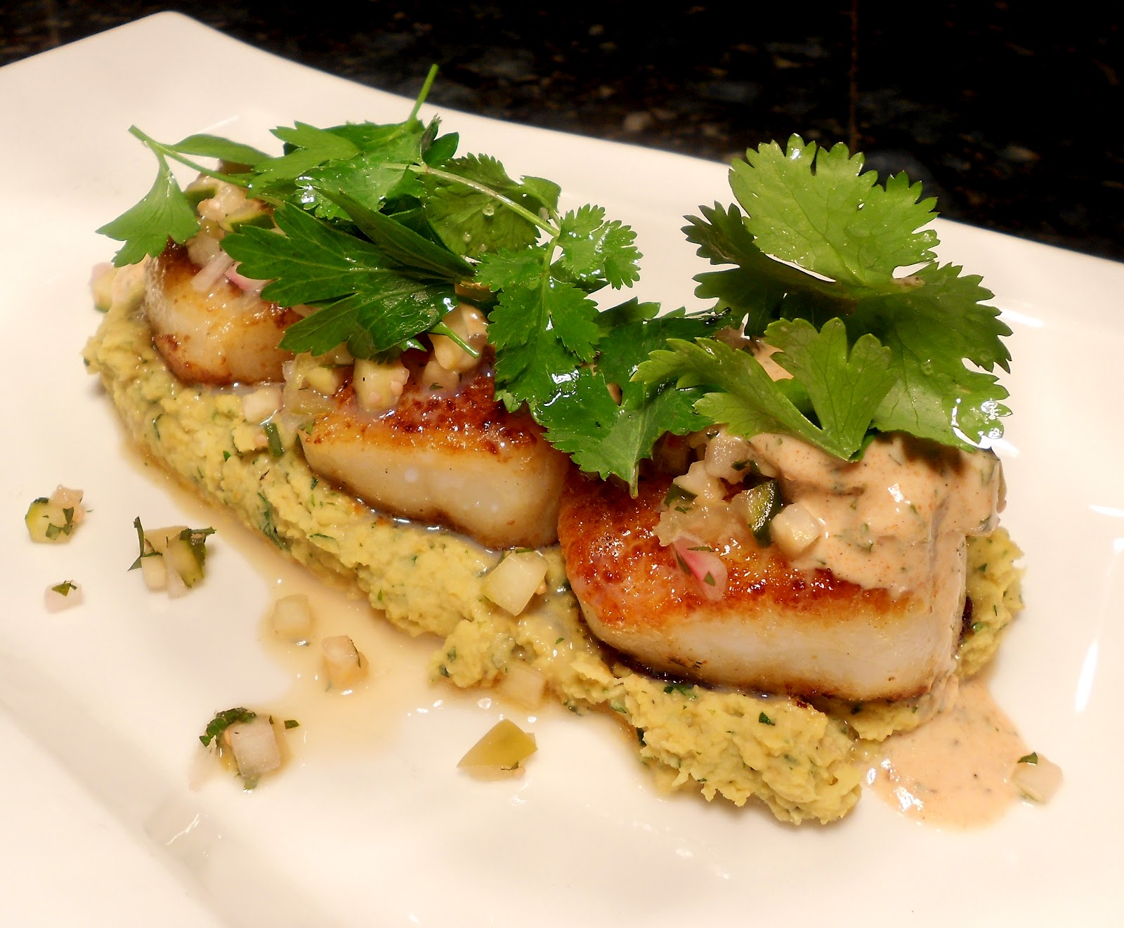 Scallops, Chickpea Puree, Cucumber and Tomatillo Salsa, Raita, Herbs ...