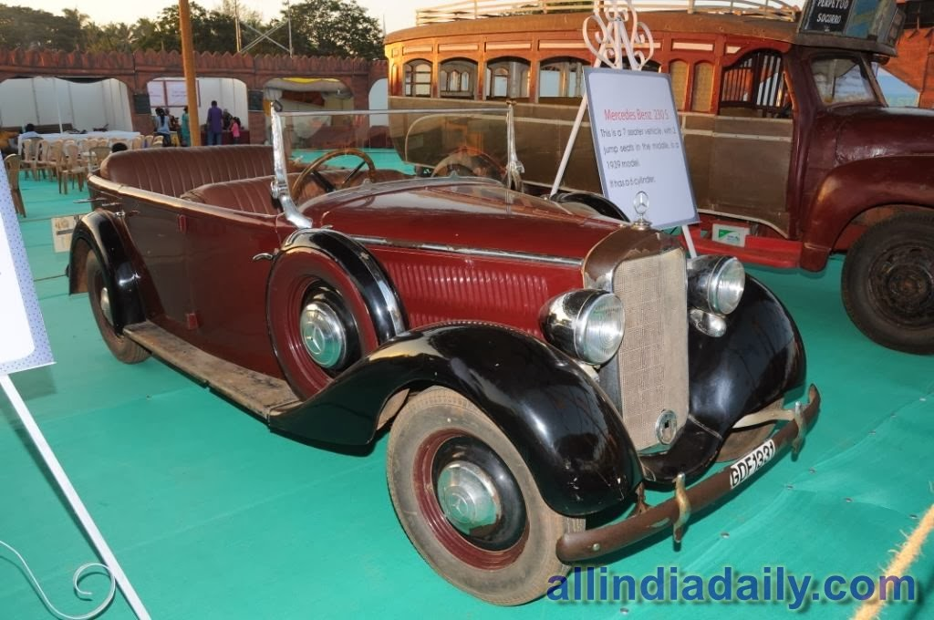 Mercedes Benz 230 S, a seven seater vehicle with two jump seats in the middle, is a 1939 model. It has a six cylinder engine