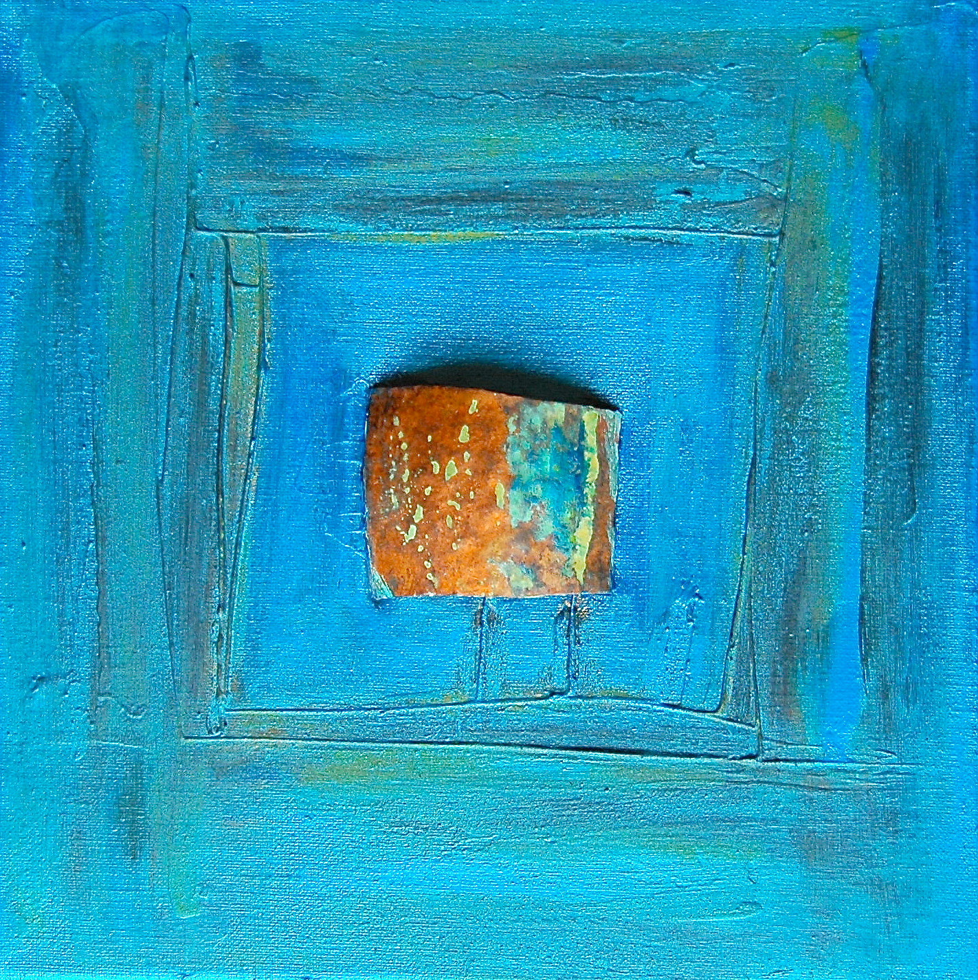 Kupfer Rost leben mit farben kupfer patina auf leinwand metallicblau