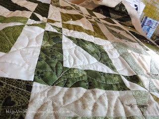 getting started with quilting on my green True Blue quilt