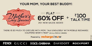 Mother's day Special- Flat 60% off +Free 100Rs talktime + extra 20% discount for Rs. 400
