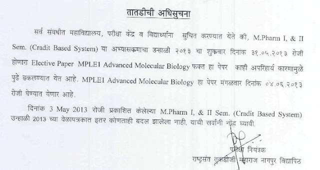 RTMNU M.Pharm Summer 2013 Notification
