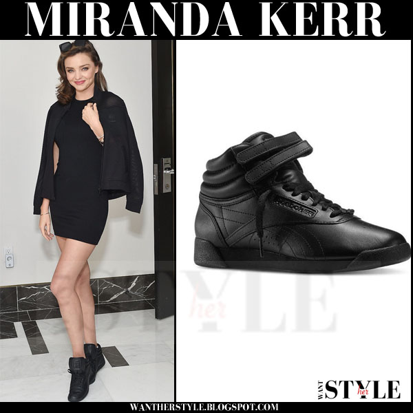 Miranda Kerr in black leather Reebok freestyle hi sneakers and black mini dress what she wore