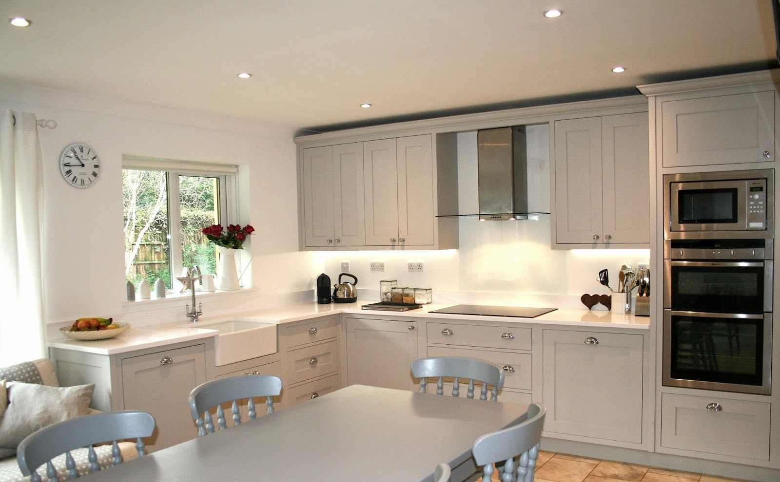 french grey kitchen grey kitchen chairs The in frame cabinetry is painted in the Little Greene s French Grey whilst the table and chairs are painted in contrasting Mid Lead