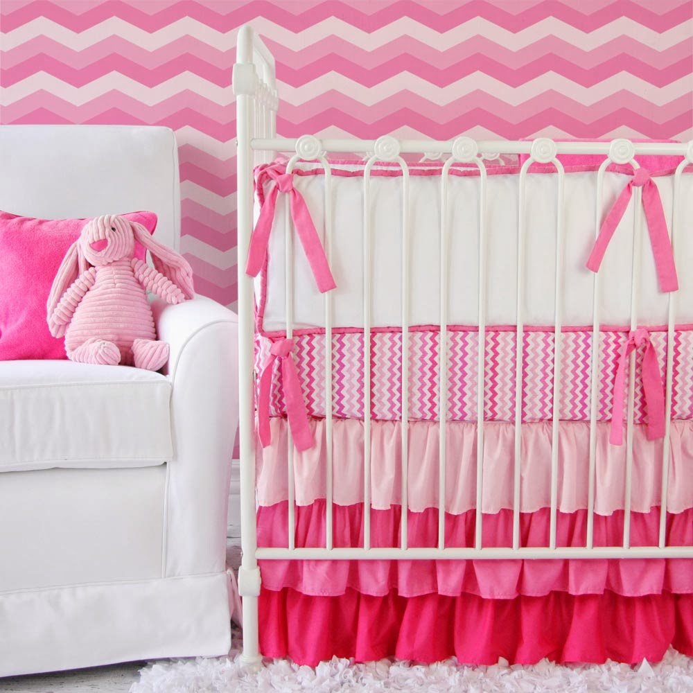 Chevron Ruffle Baby Bedding