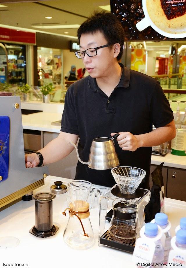 Preparing brewed coffee for us