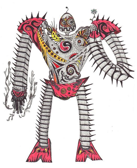 Dessins Fantastiques Robot+avec+une+fleur+-+rouge