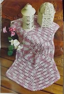 tapete de crochê rosa mesclado com gráfico