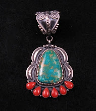 Old Pawn Style Turquoise Coral Silver Pendant by Kirk Smith