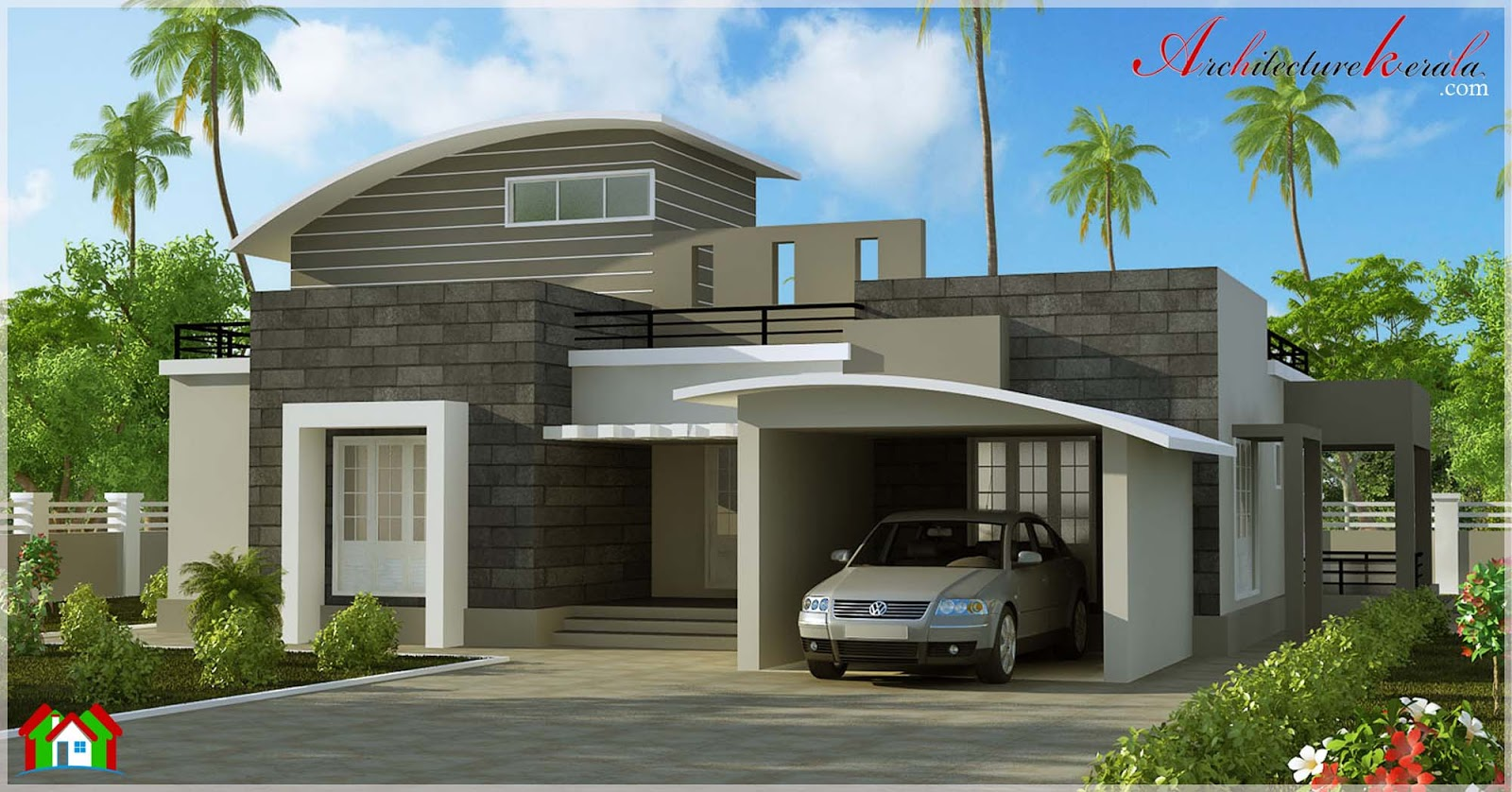 Contemporary style villa elevation architecture kerala for Kerala style home designs and elevations