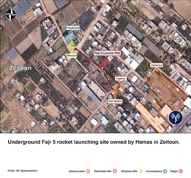 Location of Fajr missile site and al Zeitoun