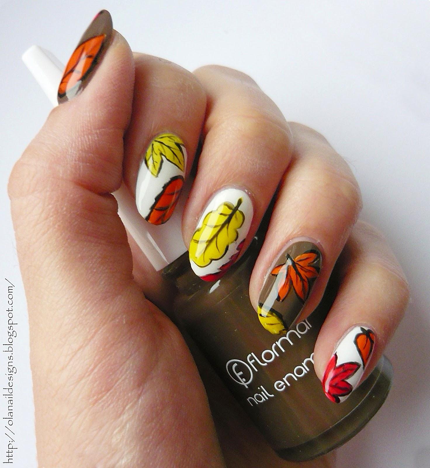 jesienne listki na paznokciach
