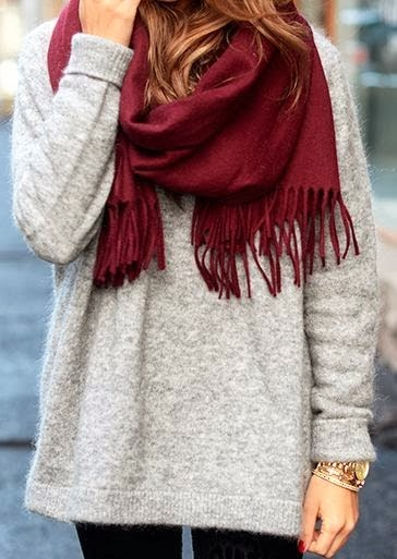 Red scarf, grey oversized sweater and black leggings combination for fall