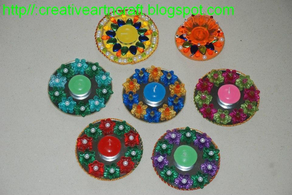 Anu 39 s art and crafts diya decoration for Diwali decoration material