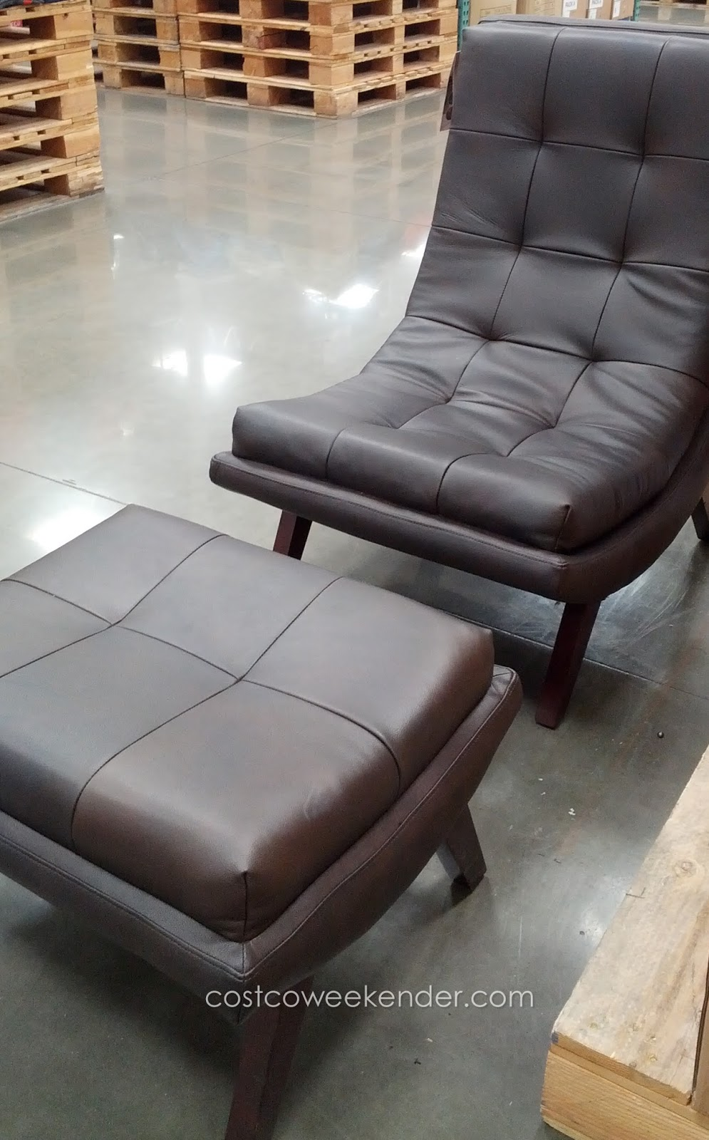 Ave Six Delia Leather Lounge Chair and Foot Stool
