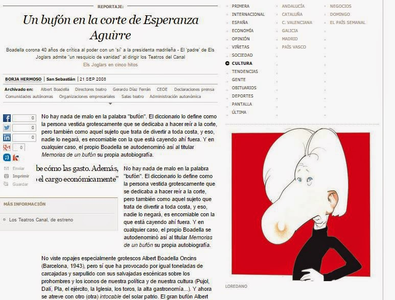 Borja Hermoso, Albert Boadella, errores de periodistas de El País, En qué estaría yo pensando