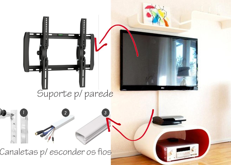 Como Instalar Tv Na Parede Da Sala ~  quer esconder os fios é a dobradinha  Suporte de parede + canaletas