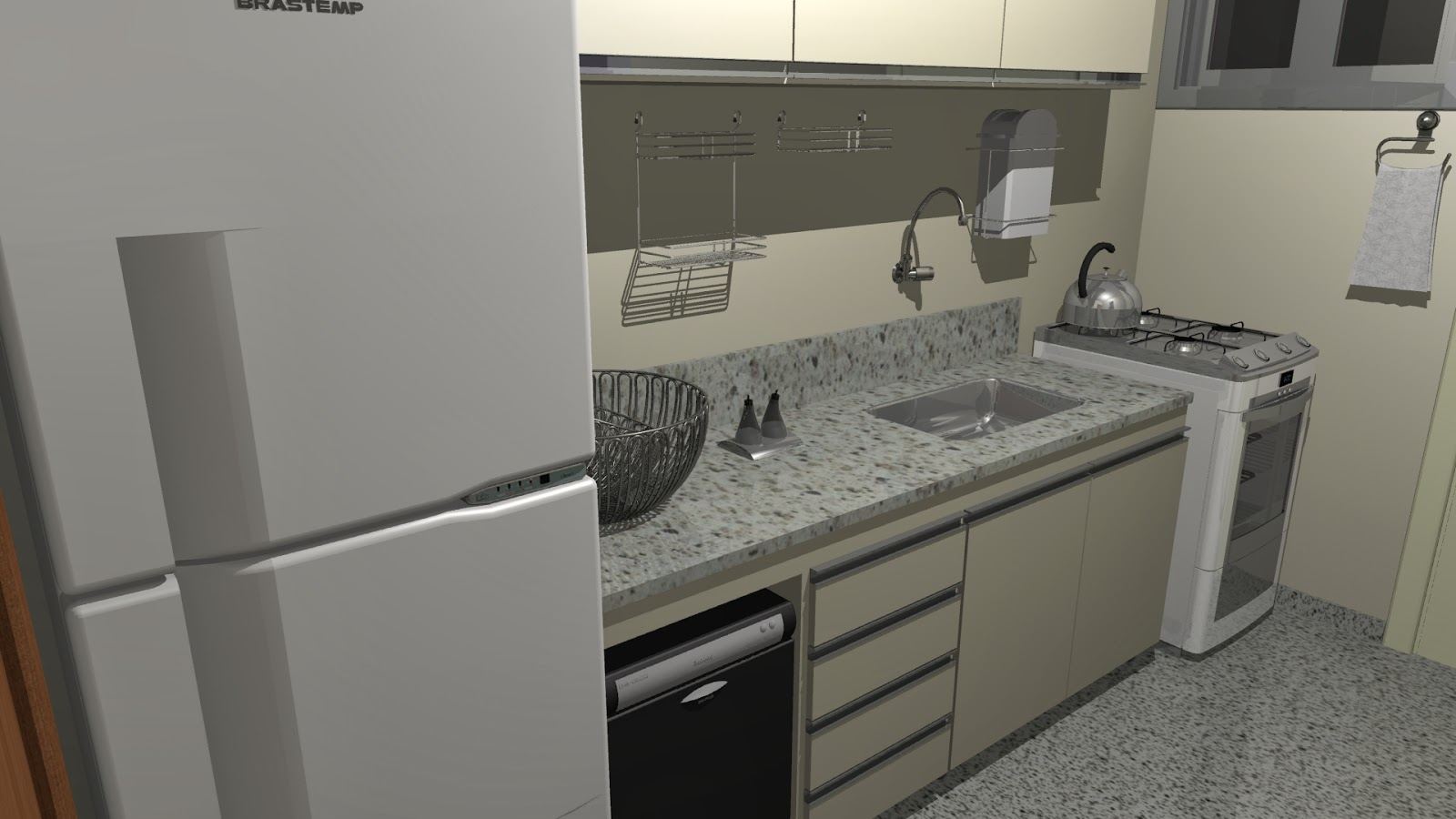 #867945 Juliana Campi Designer de interiores: Cozinha e Quarto planejados 1600x900 px Projeto Cozinha E Quarto #2511 imagens