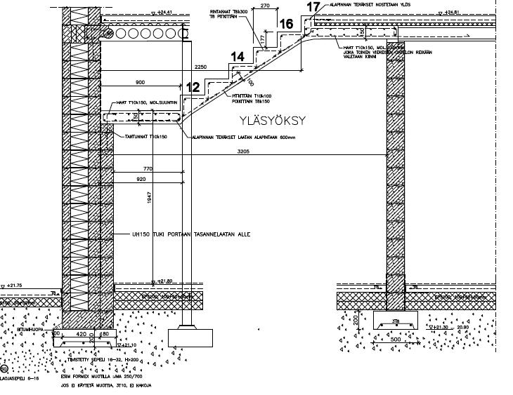 Betoniportaiden rakennepiirrokset