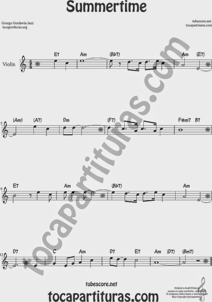 Summertime de Partitura de Violín Sheet Music for Violin Music Scores Music Scores