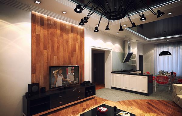 desain ruang tamu dengan dinding kayu rancangan desain